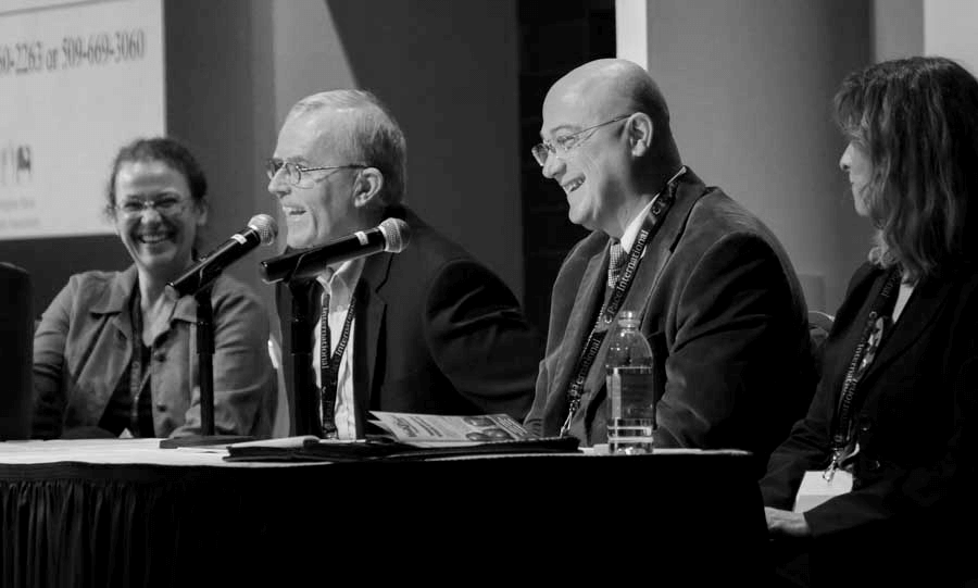 Kate Evans, Tom Auvil, Stefano Musacchi and Ines Hanrahan share a laugh during the question, answer portion of the Cosmic Crisp horticultural panel on December 5, 2016. (Photo courtesy of TJ Mullinax,  Good Fruit Grower )