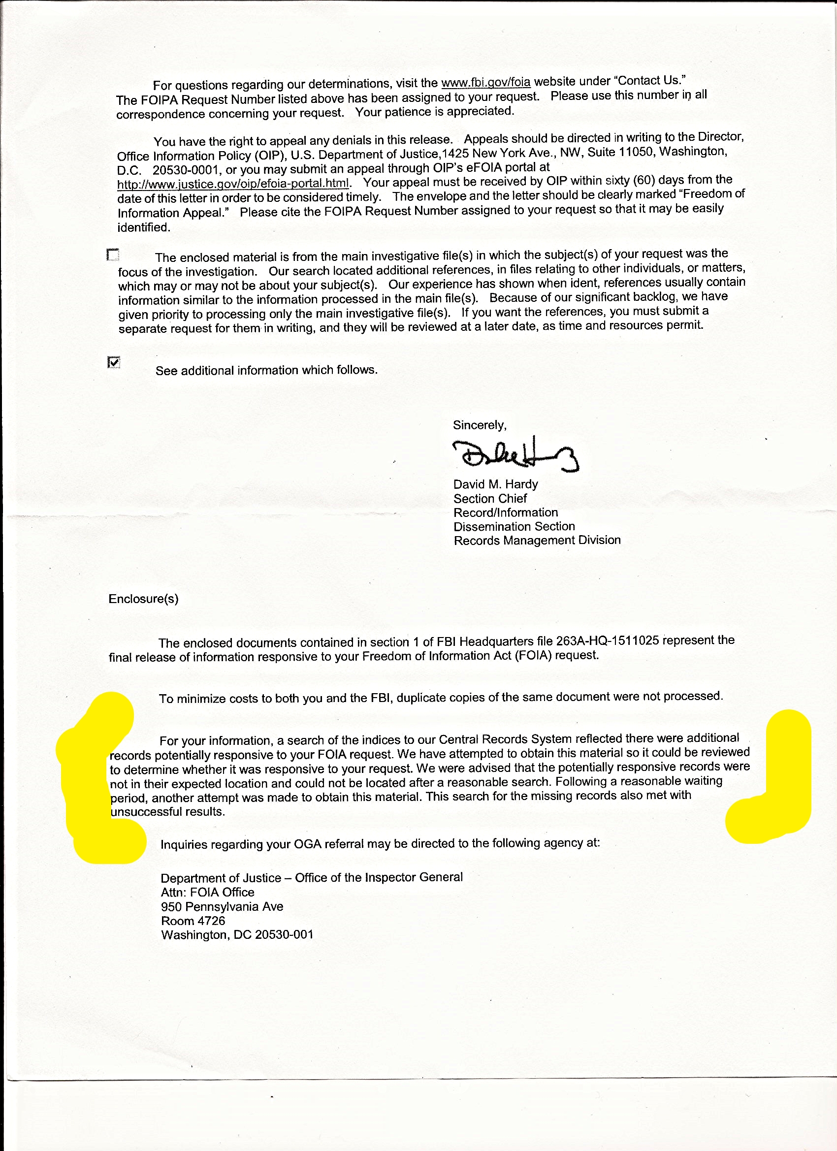 FBI FOIA cover letter to the Underground (note last paragraph re missing records).