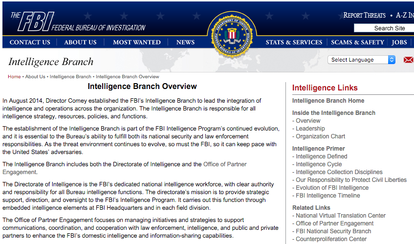 FBI's Intelligence  Branch website, December 2015. Not a word can be found about FIGs or SETs in use, after tens of millions of dollars were wasted on those programs.