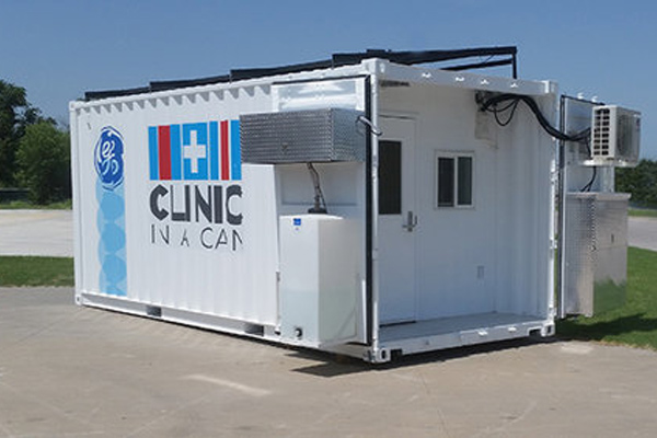Single unit solar powered All-In-One Clinic In A Can