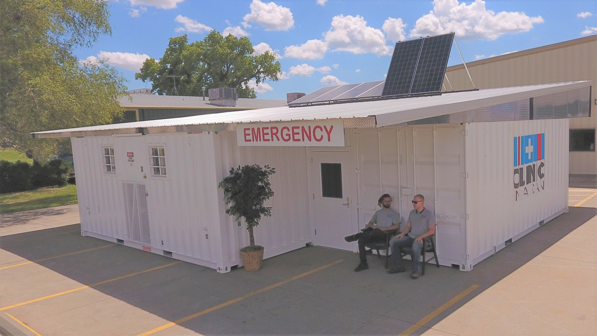 Clinic In A Can four unit Community Health Center which is fully solar powered