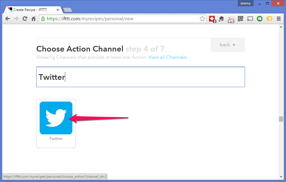 Select the Twitter channel