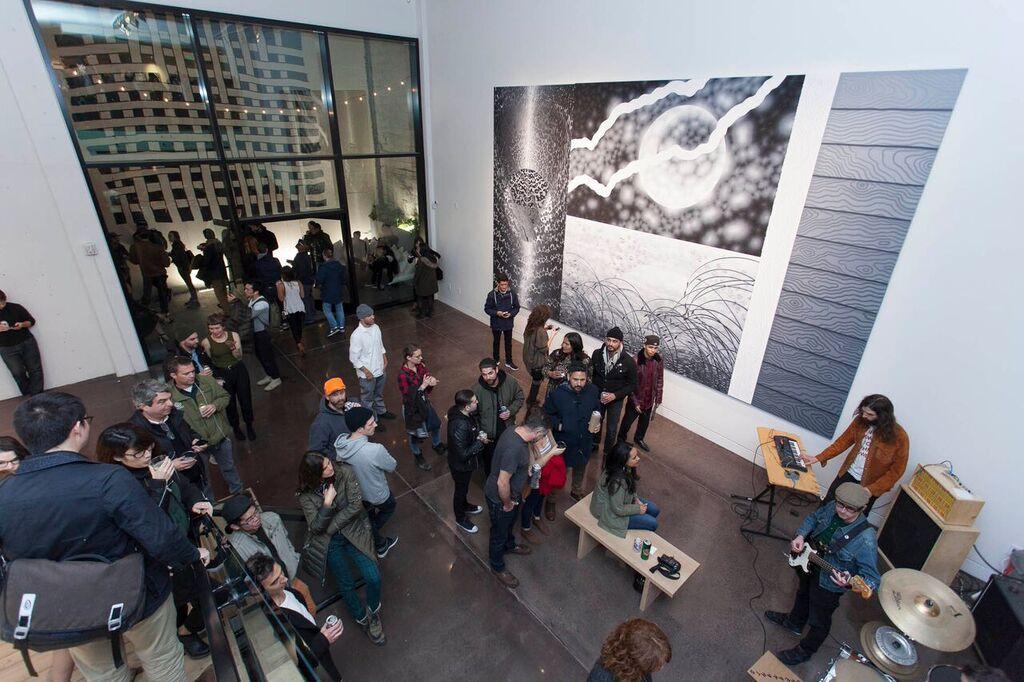 Image:  Mido Lee        Productions    |  Sam Friedman, Moja , Acrylic on canvas144 x 220 inches, 201