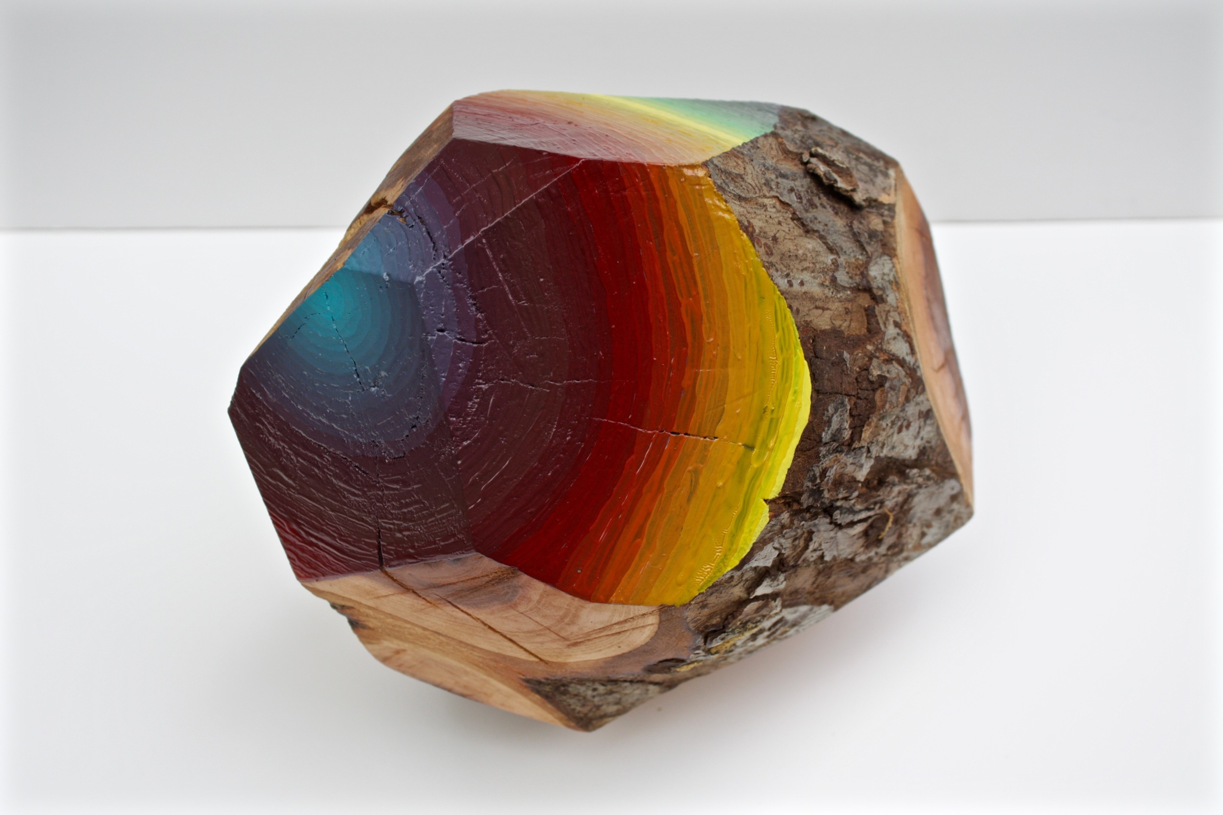 "Victoria Wagner, Woodrock (too heavy) , approx. 13"" diameter, oil on Coast Live Oak, 2016."