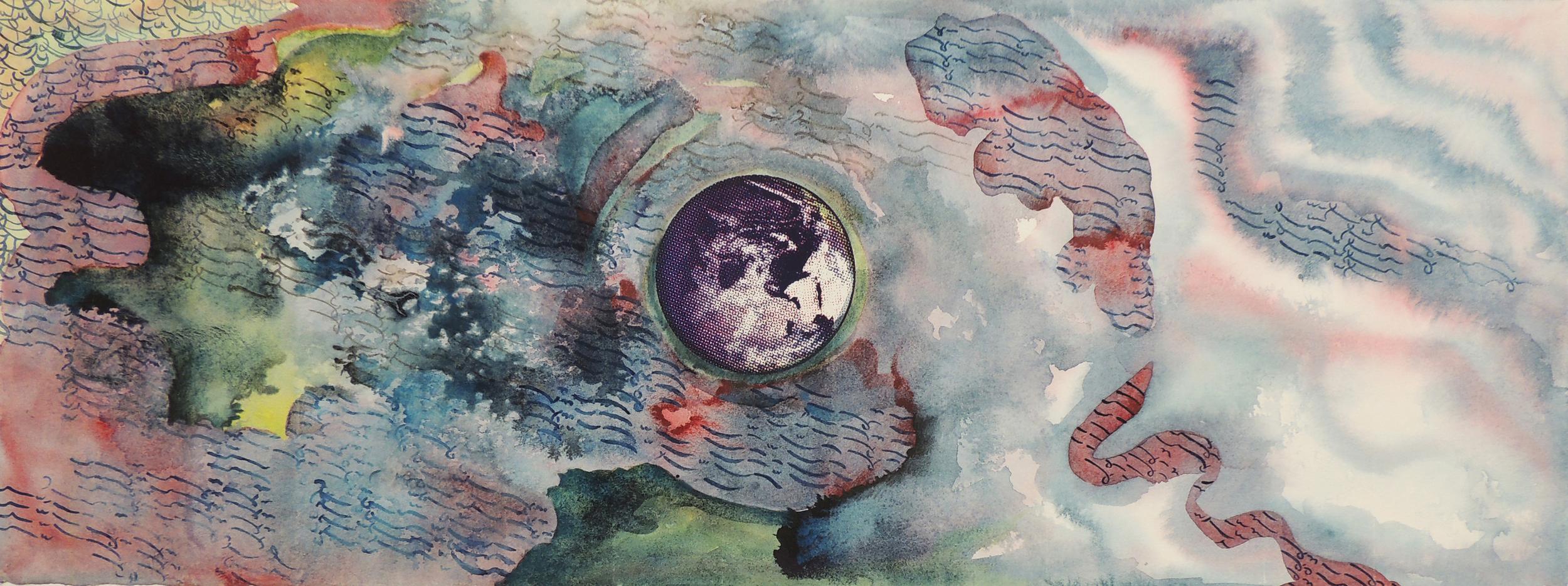"Pantea Karimi, The Return of Geocentrism i,  2014,    watercolor and silkscreen on paper, 15""x 30""."