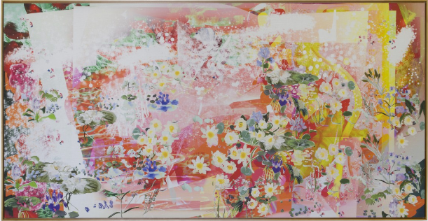 Petra Cortright,  deicideCHEMICAL_records.bl , 2015. Digital painting on raw Belgian linen. 47 x 92.5 in. Courtesy of the artist and Ever Gold [Projects]