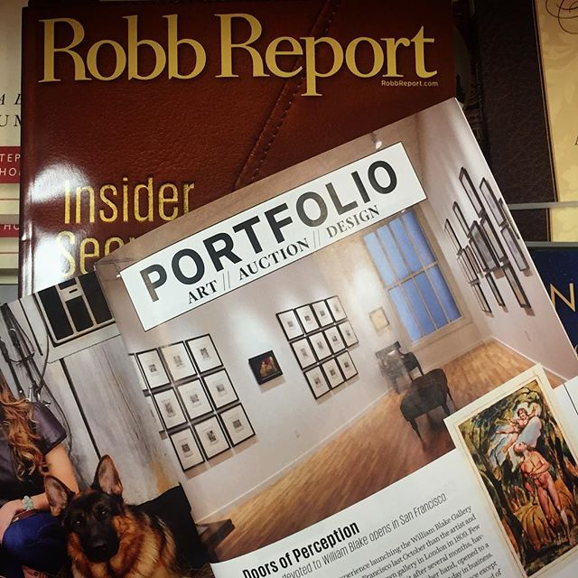Thank you Robb Report for featuring the @williamblakegallery in its May issue. Join us this Friday from 4-7 for  champagne & a special talk by @johnwindlebooks | 49 Geary Street, Suite 205, SF