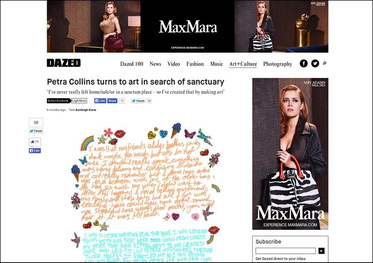 Dazed Magazine - Petra Collins art story