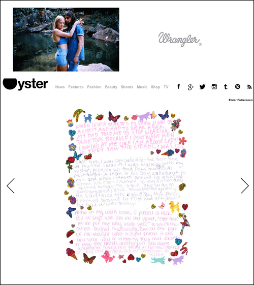 Oyster Magazine: art story in art, culture, fashion news outlet for Petra Collins exhibition