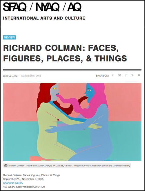 artist interview, SFAQ, Richard Colman exhibition, Chandran Gallery
