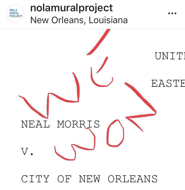 """7-16-19   Last Tuesday the case of Morris v. City of N.O. was decided on Summary Judgment. It was a total victory for the First Amendment. The case arose when a local property owner (this one) allowed an anti-Trump mural on his property. A neighbor complained and the City threatened fines and jail. The ACLU stepped in and volunteered to sue the City. It's those pesky amendments. The 1'st and 14'th.   The Nola Mural Project was founded to encourage reform of the law. We presented a list of reasonable compromises for a revised mural ordinance. (I don't think compromise is a bad word and I never viewed the city government as my enemy. I still don't.) But they decided to go it alone. They'd draft their own ordinance and we could comment at the public hearing.   """"We got this,"""" they said.   """"Not so fast,"""" said the judge.   So as of now if you want to paint a mural in the city of New Orleans and you have the permission of the property owner you can just do it. No application fee. No sketch or drawing required. No mural review committee. Resist. Or just put a bird on it. Or something in between. Just go out and create. You are only limited by your imagination and your ability.  I am so very grateful for the work of the ACLU. It's easy to agree to be represented pro bono. But good lawyering is hard. The Nola Mural project would not exist but for the tireless volunteer labor of @annesouvignier and @sophie_peach , the 24 (and counting!) wall owners who agreed to have art painted on their walls without a permit, and the amazing, kickass artists who chose to work with us. Your work is SPEECH. CONSTITUTIONALLY PROTECTED SPEECH!   Great work guys. The victory is yours!   And to the #cityofyes I say the victory is actually yours too. Vibrant, diverse art makes us a better city. The offer to sit down and come up with something constitutional still stands. I'll meet you in front of the Dr. John mural on Toledano?  Not sure what is to come for the NMP. Open to suggestions.   Peace out"""