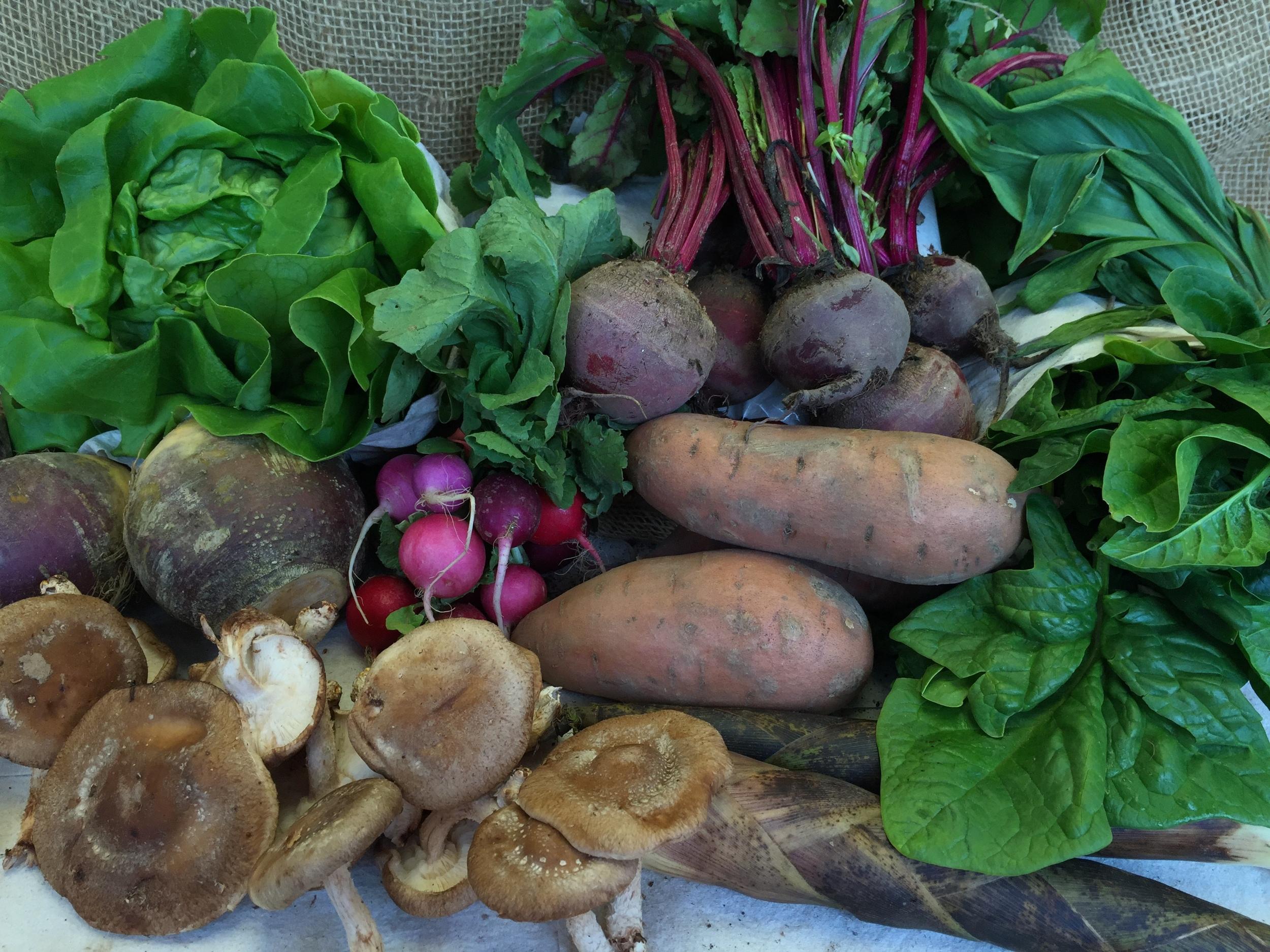 Hydroponic Lettuce, Strawberries, Rutabaga, Bamboo Chutes, Ramps, Beets, Cremini Mushrooms, Sweet Potatoes, Spinach.
