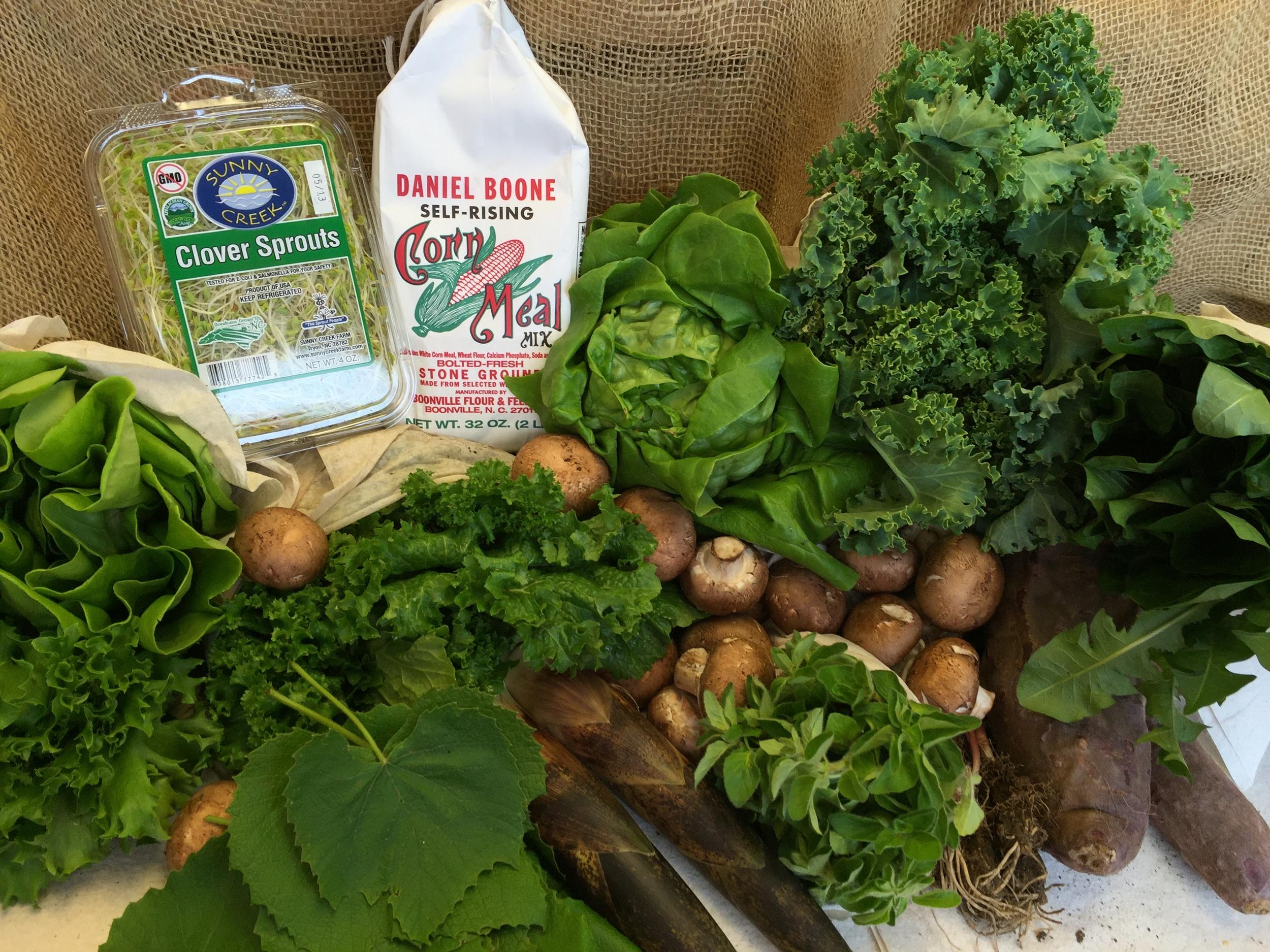 Hydroponic Lettuce, Ramps, Mixed Herbs, Cherry Radish, Spring Mix, Bamboo Shoots, Shitake Mushrooms, Grape Leaves, Arugula, Siberian Curly Kale, Purple Sweet Potatoes.
