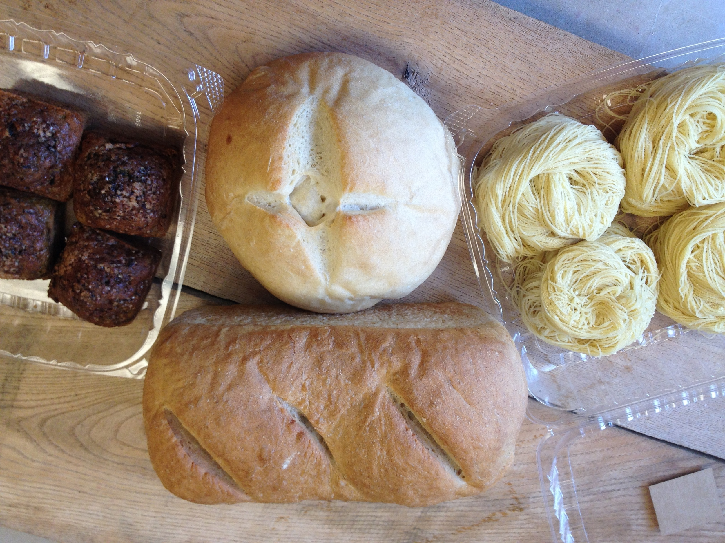 Bread, Pasta, & Grains Small- Wheat loaf, french boule, beet muffins, angel hair pasta.