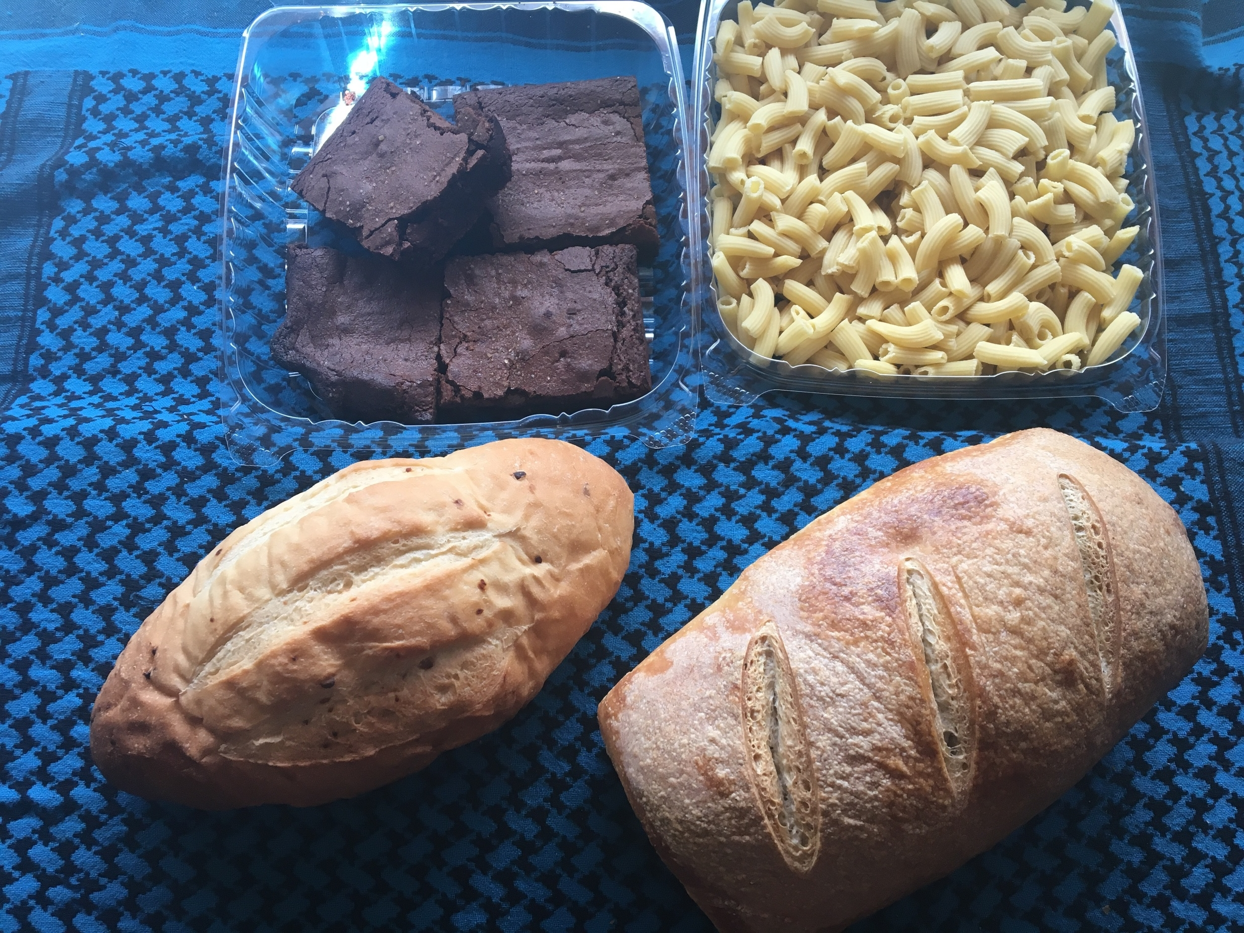 Small Bread share~ Sourdough loaf, garlic rosemary batard, penne pasta, and fudge brownies.