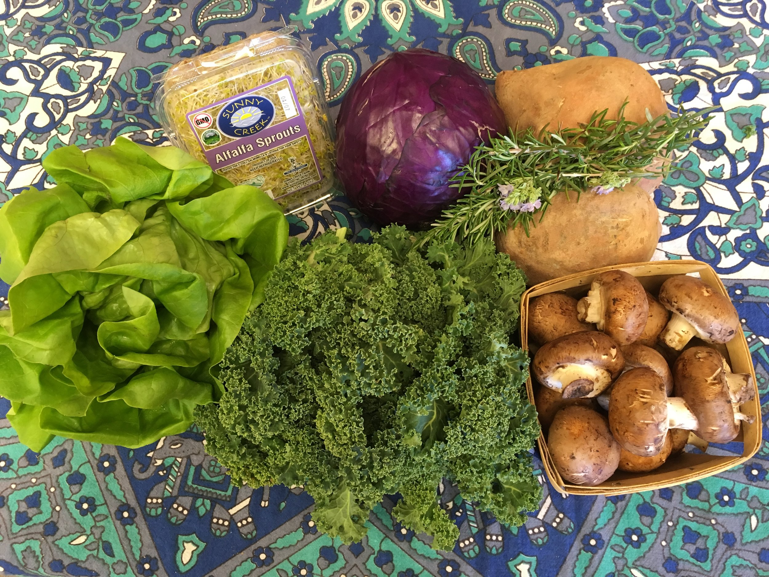 Southern Comfort Small  Hydropic Lettuce, Alfalfa Sprouts, Grab Bag- featuring Purple Cabbage- Carrots are also available, Rosemary, Sweet Potatoes, Cremini Mushrooms, Siberian Curly Kale