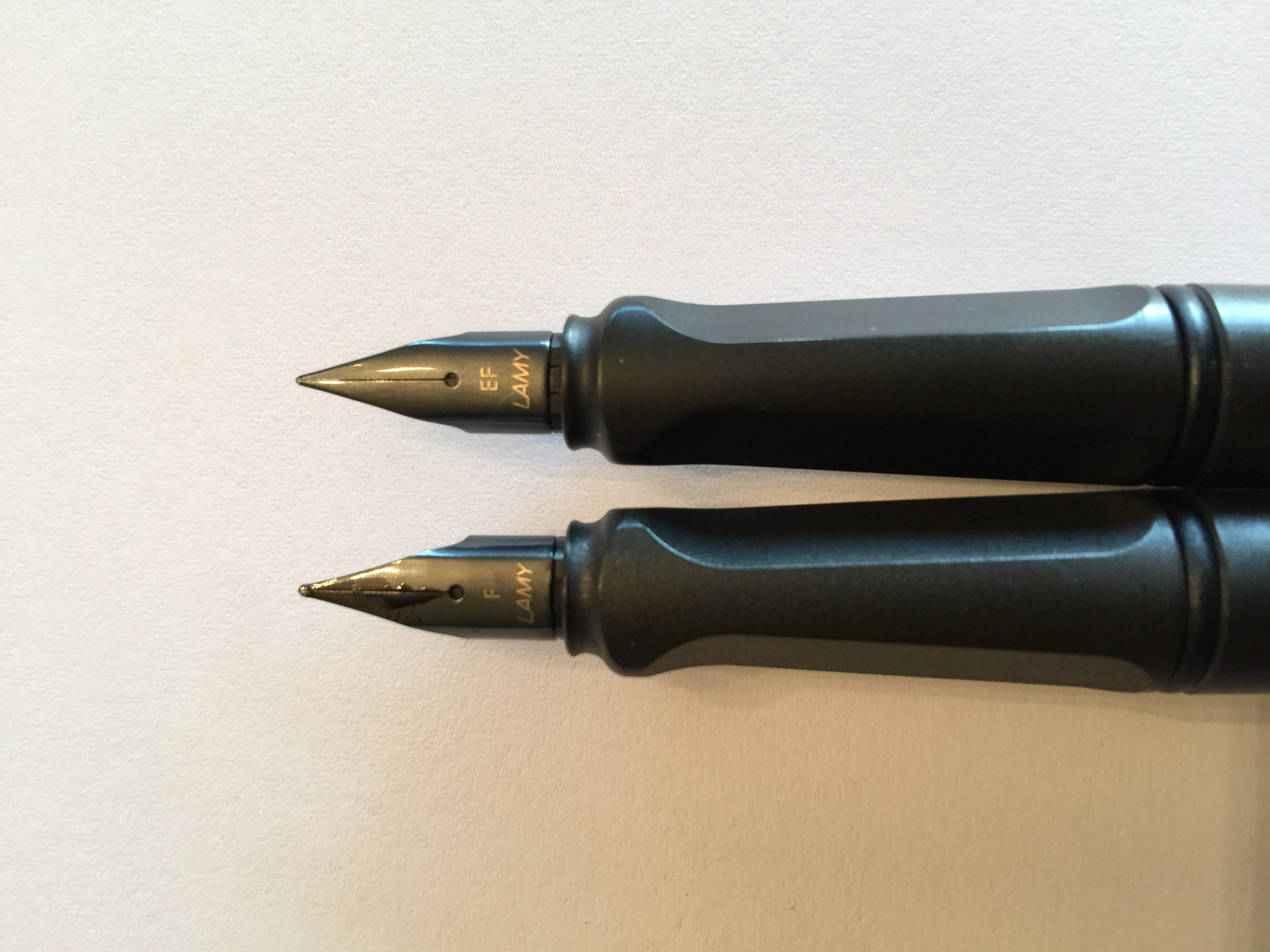 Top: Counterfeit with a legit EF nib from Goulet; Bottom: Legit pen & nib. Notice the subtle differences in the edges on the grip and the space between the nibs and feed from the body.
