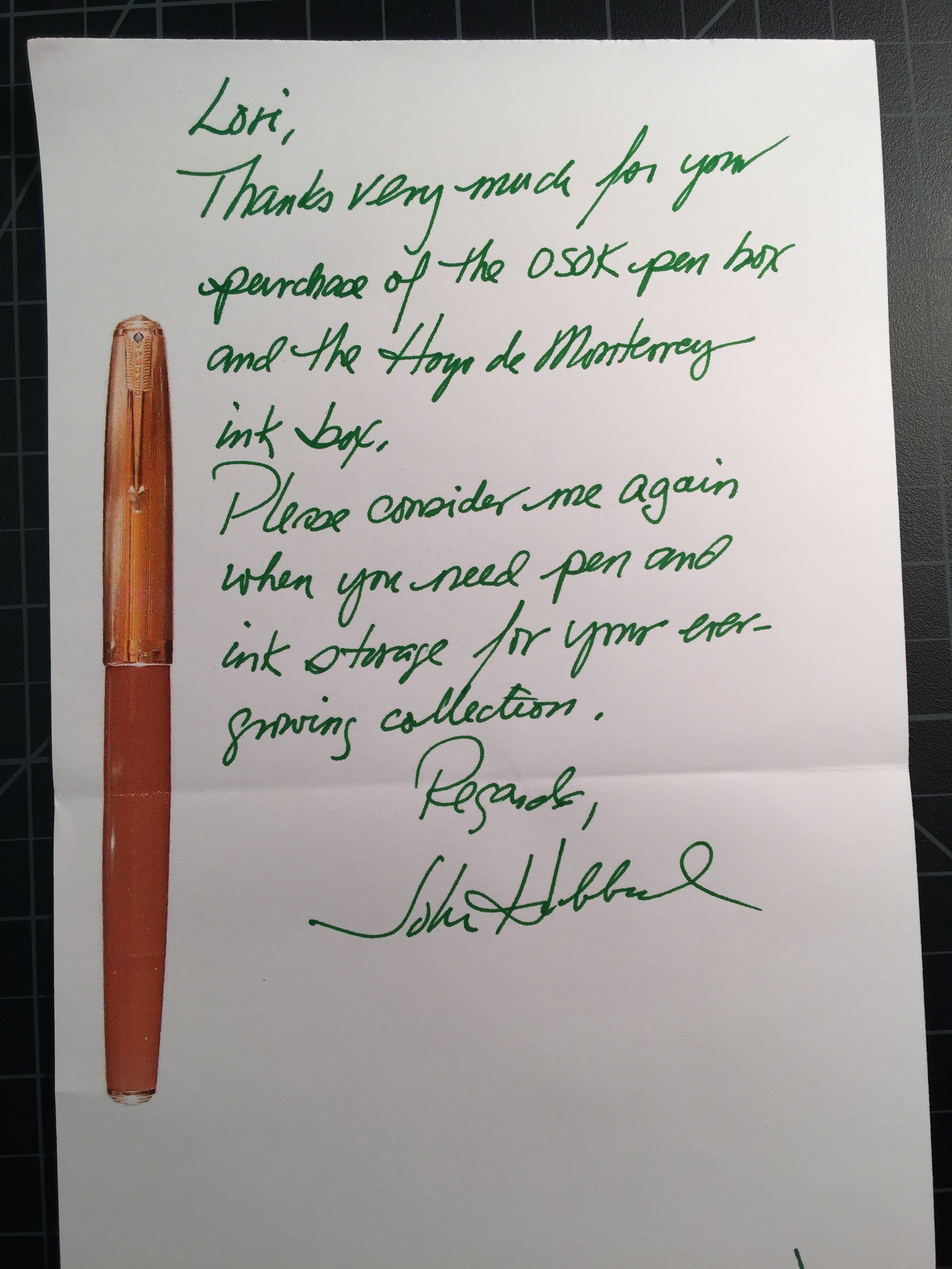 Nice handwritten note included with my purchase
