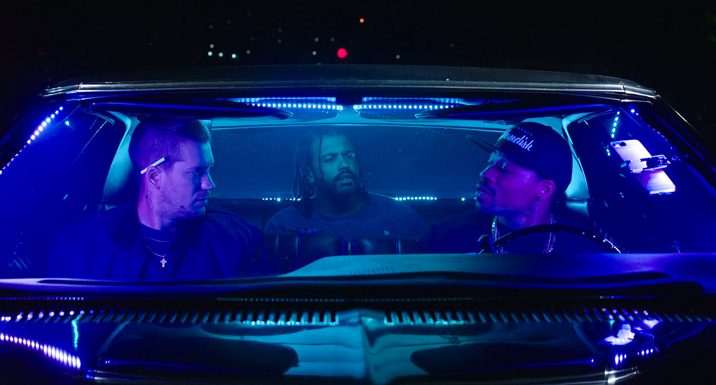 "Rafael Casal as ""Miles,"" Daveed Diggs as ""Collin"" and Jon Chaffin as ""Dez"" in BLINDSPOTTING. Photo by: Ariel Nava."