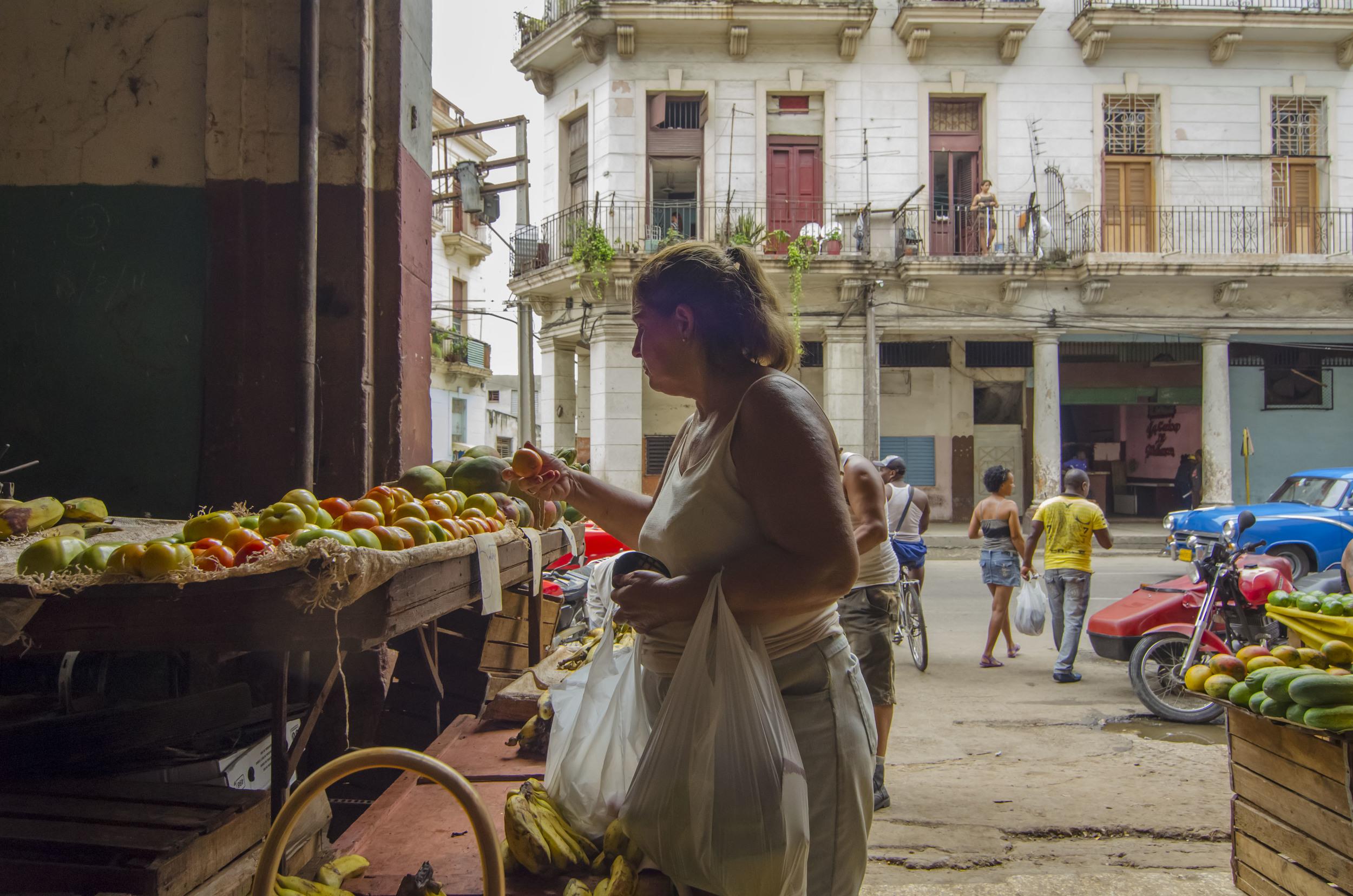 Woman in Fruit Market - Havana.