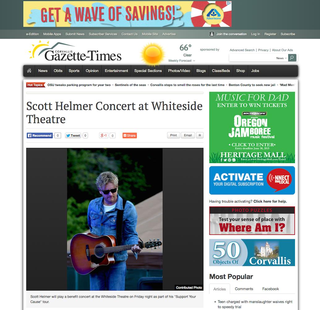 Scott Helmer Concert at Whiteside Theatre