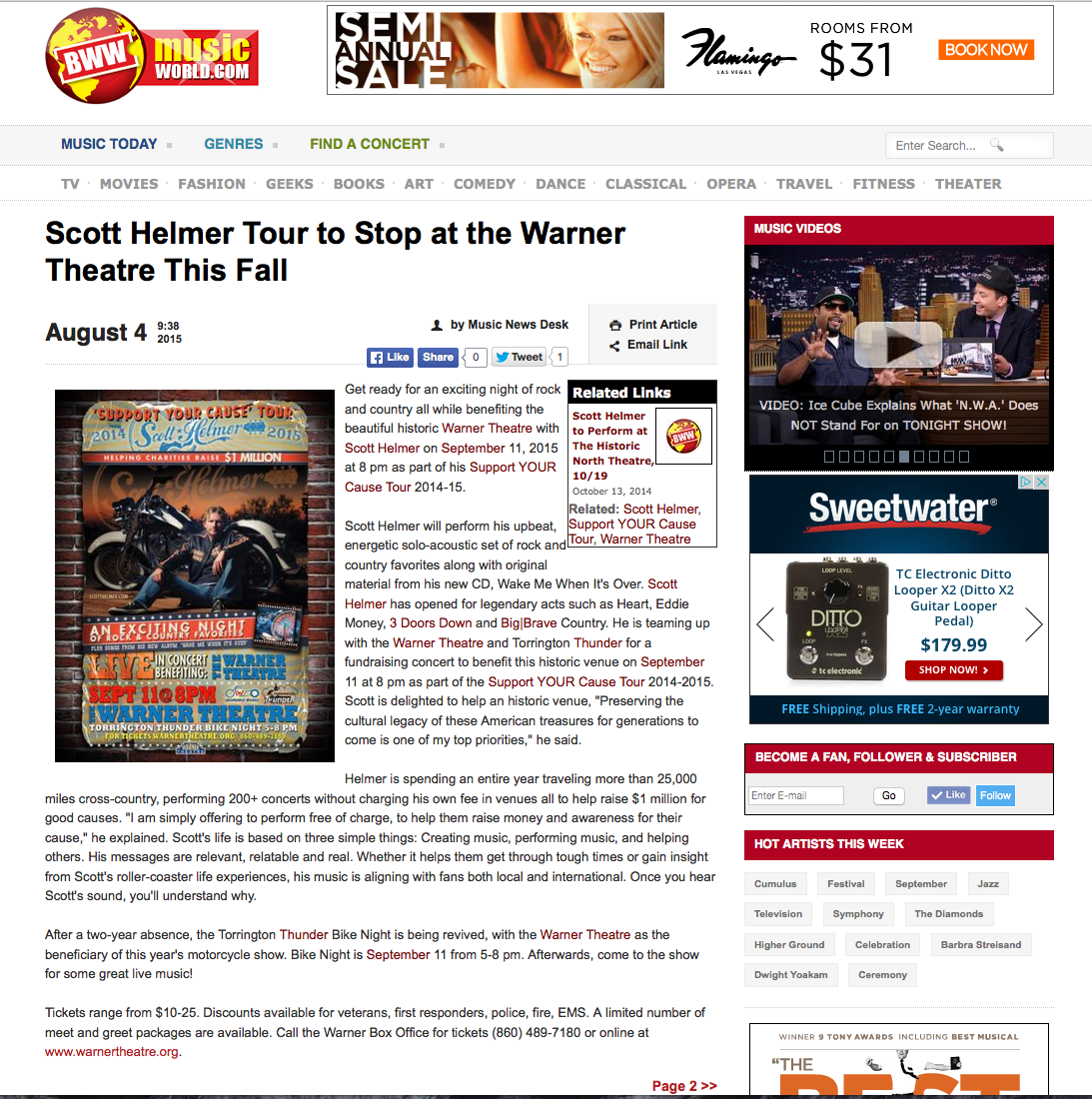 Broadway World -  Scott Helmer Tour to Stop at the Warner Theatre This Fall