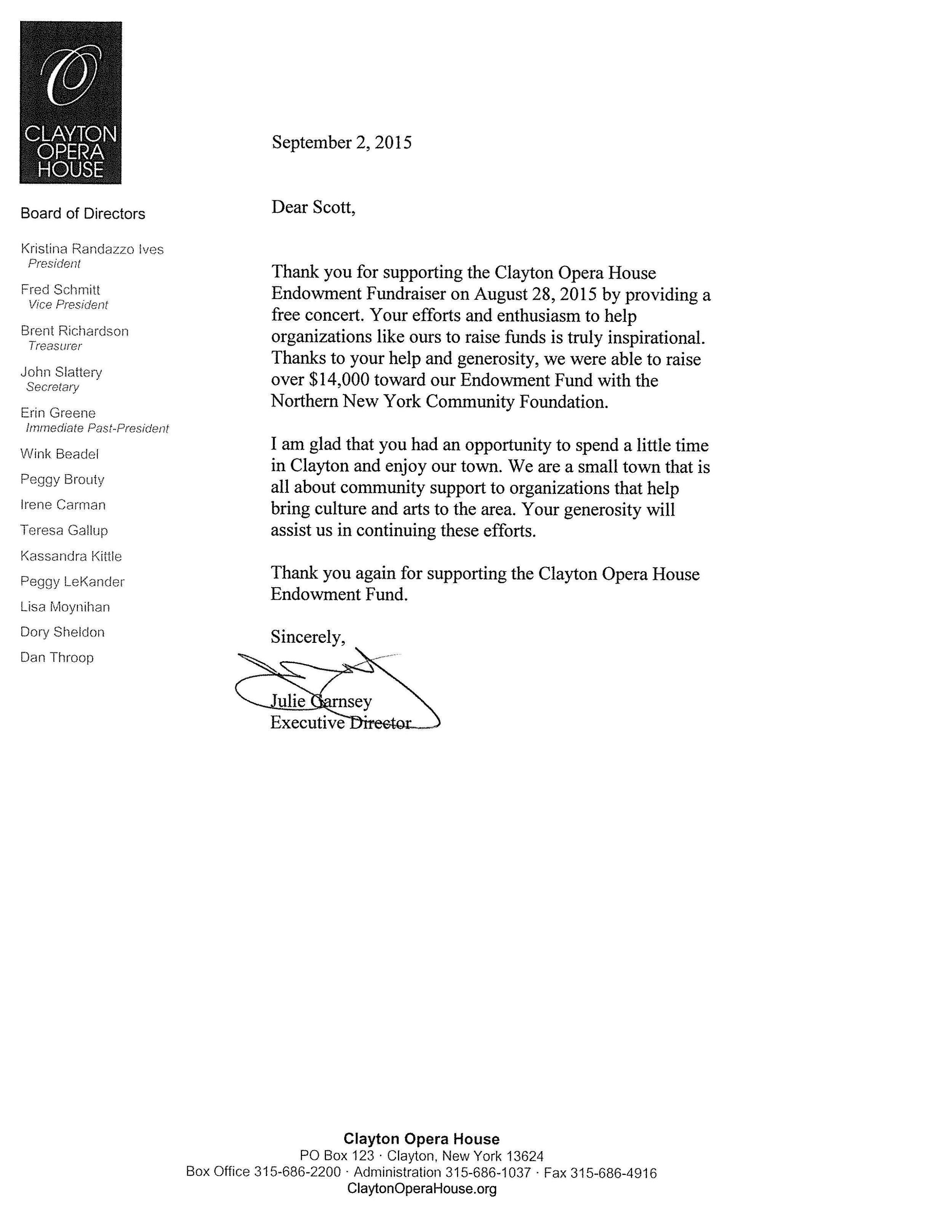 Clayton Opera House Testimonial for Scot Helmer
