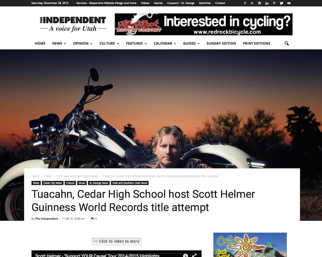 Tuacahn, Cedar High School host Scott Helmer Guinness World Records title attempt - via The Independent