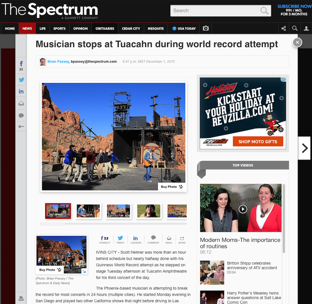 Musician stops at Tuacahn during world record attempt - via Brain Passey @ The Spectrum