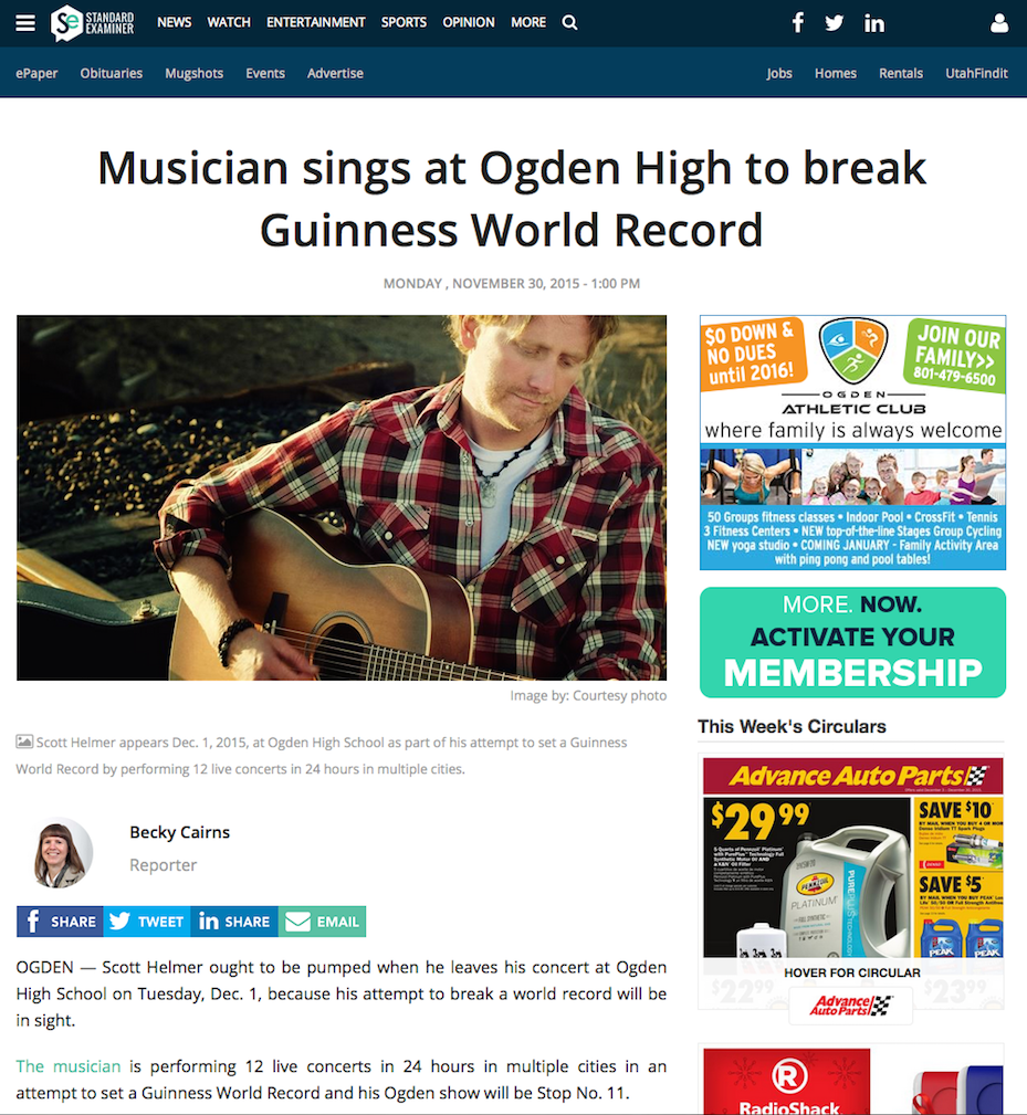 Musician sings at Ogden High to break Guinness World Record