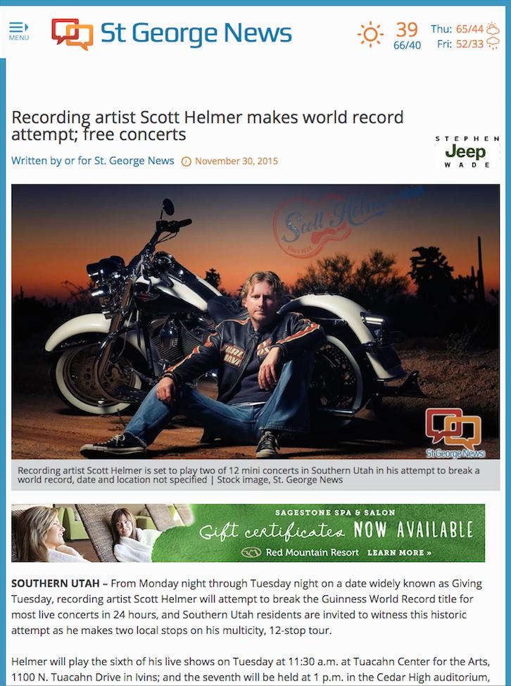 Recording artist Scott Helmer makes world record attempt