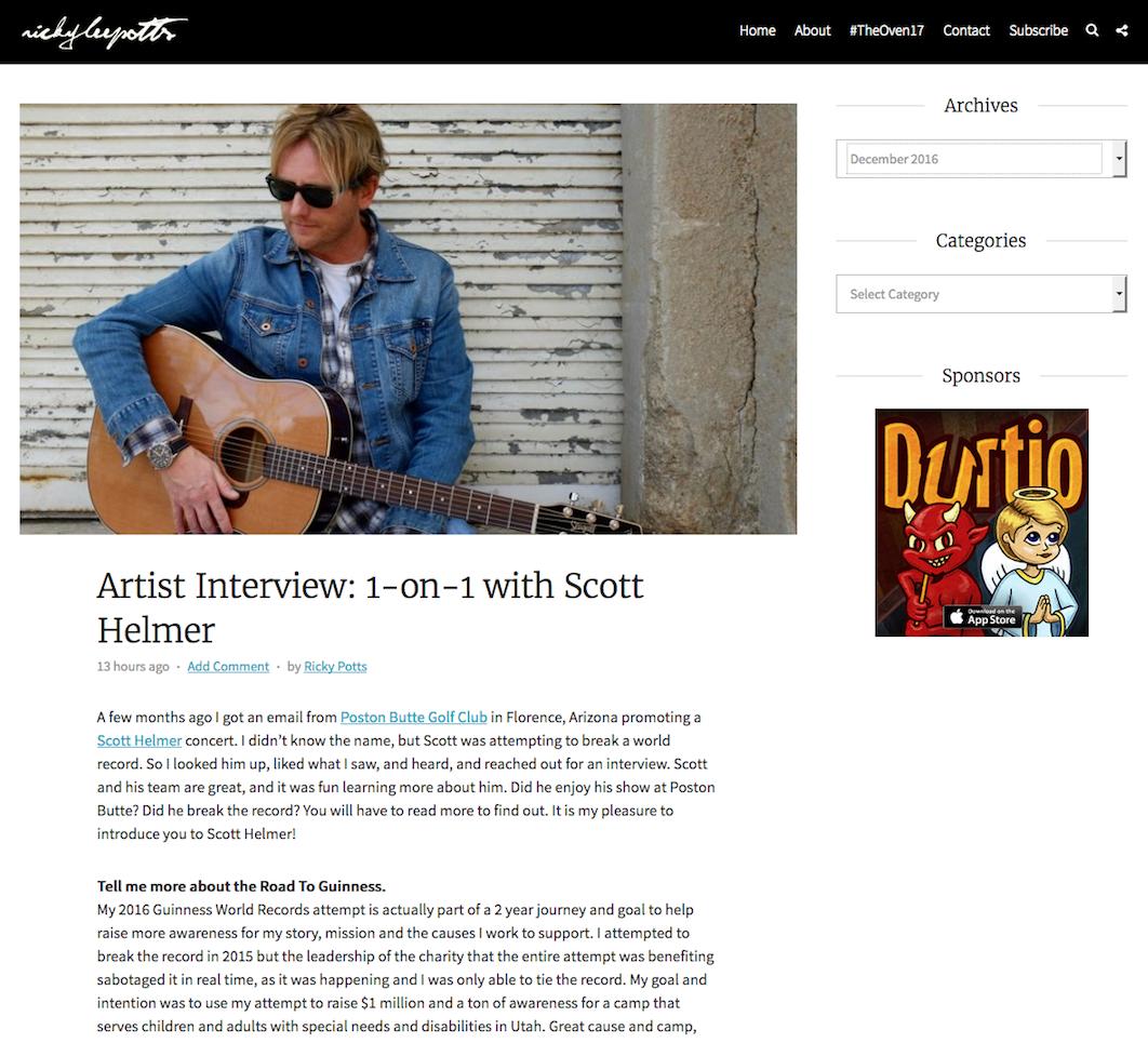 Artist Interview: 1-on-1 with Scott Helmer by Ricky Potts