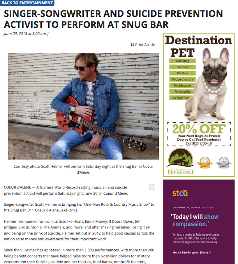Singer-songwriter and suicide prevention activist to perform at Snug Bar