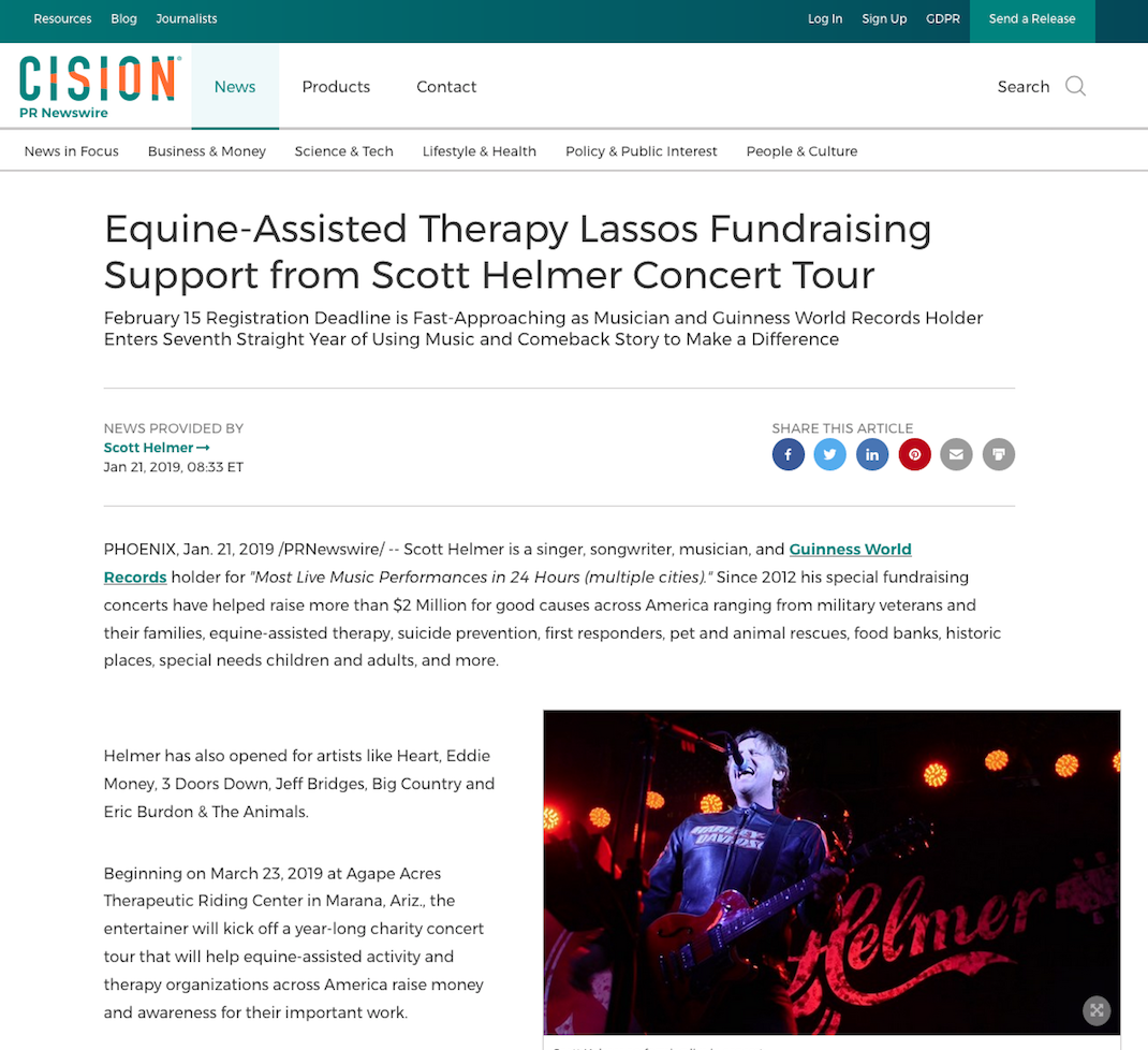 Equine-Assisted Therapy Lassos Fundraising Support from Scott Helmer Concert Tour