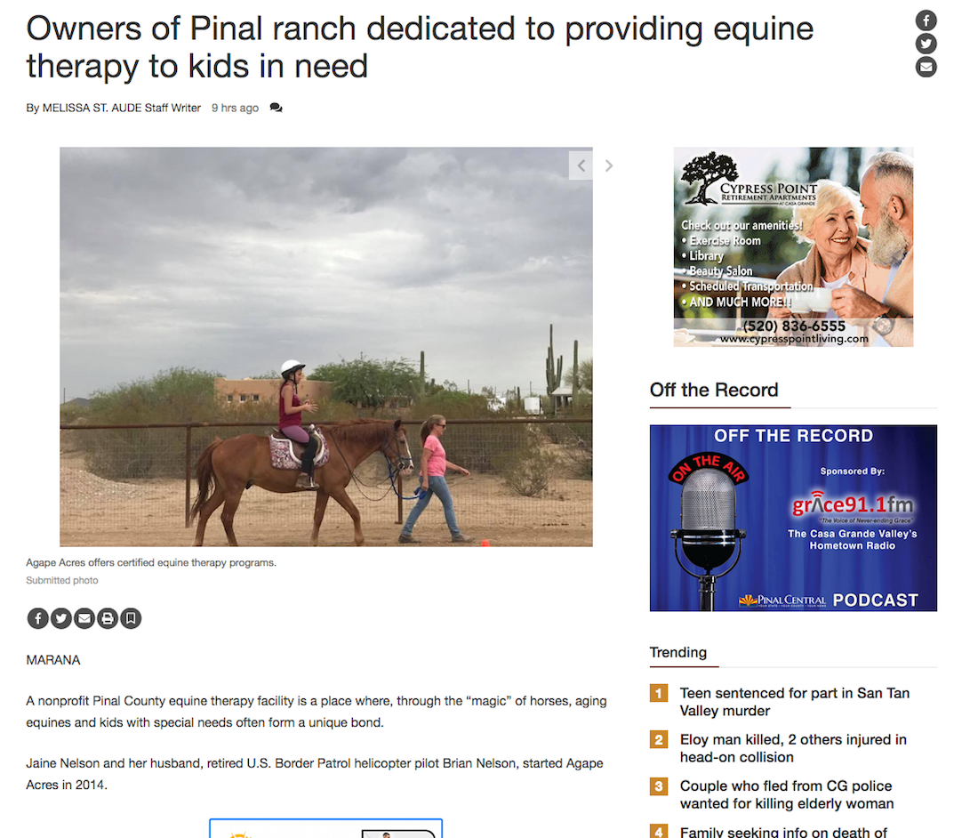 Owners of Pinal ranch dedicated to providing equine therapy to kids in need