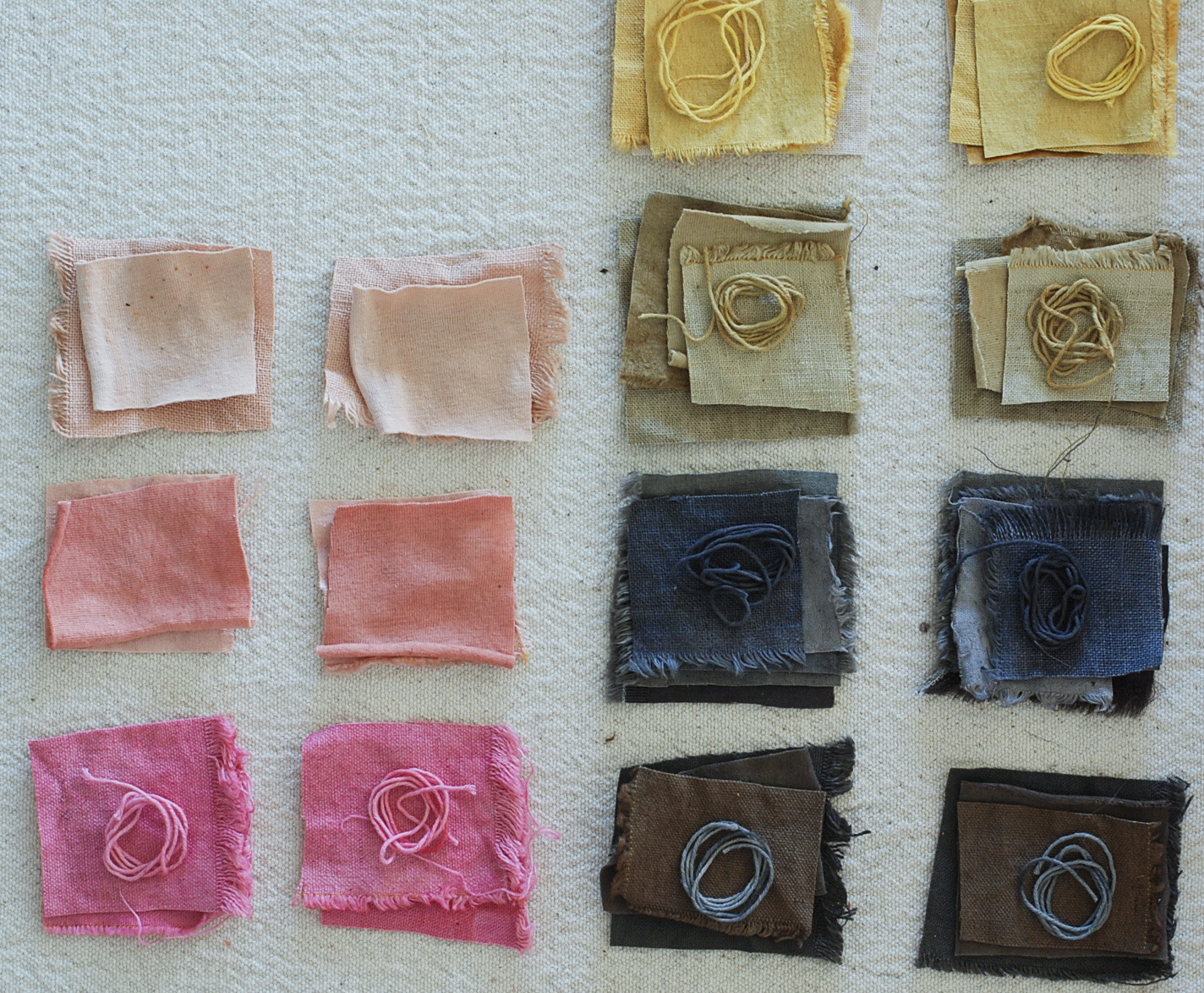 Naturally Dyed Fabric Swatches in preparation for  HempX