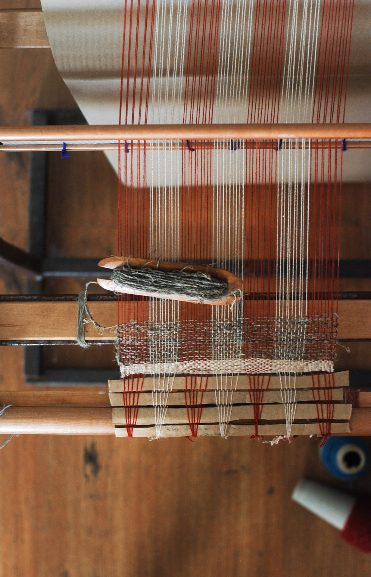 Freshly warped loom in preparation for a weaving demonstration held at the  Hemp Maze