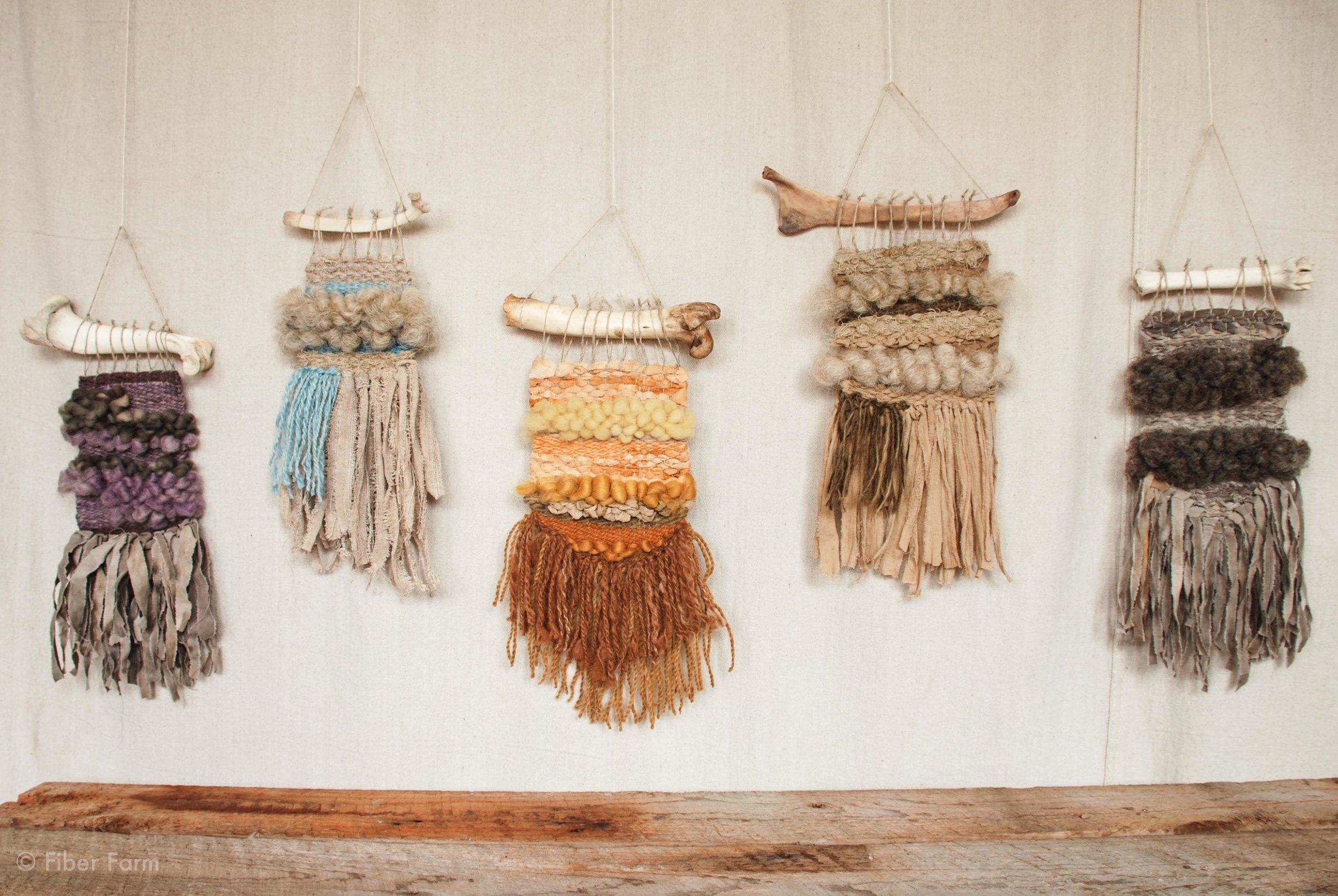 Holiday 2015 Weavings, hanging from found animal bones.