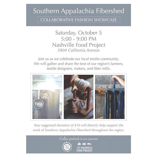We are less than one week away from the @southernappalachiafibershed Collaborative Fashion Showcase! What started as an idea tossed around during a potluck dinner last September has led to a full lineup of incredible designers, makers, farmers, and mill owners coming together to celebrate our local textile economy.  Join us this Saturday, October 5 at @thenashvillefoodproject where we will present a selection of locally + consciously designed garments and accessories, followed by lite bites and time to mingle with a room full of fellow textile folks. Everyone is invited!  This event wouldn't have been possible without a small handful of incredibly dedicated and passionate humans. I am extremely grateful to be a small part of building something bigger than we could have ever imagined just a little over a year ago.