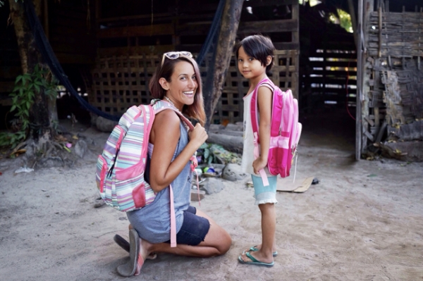 Amber with her sponsor child, 6 year old Uki.