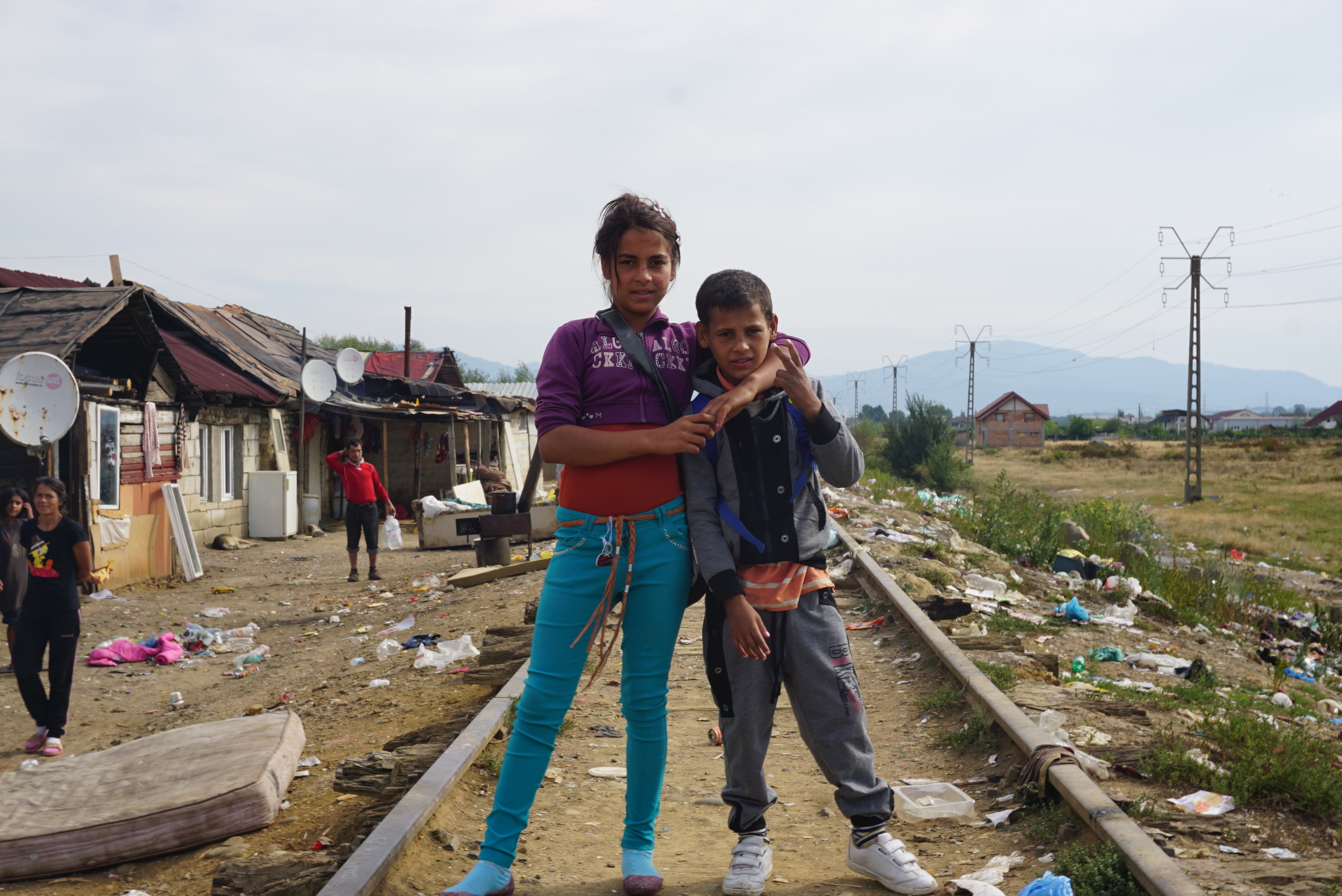 Walking through the Craica slums, where the Roma children we helped live - you can see the horrible living conditions.