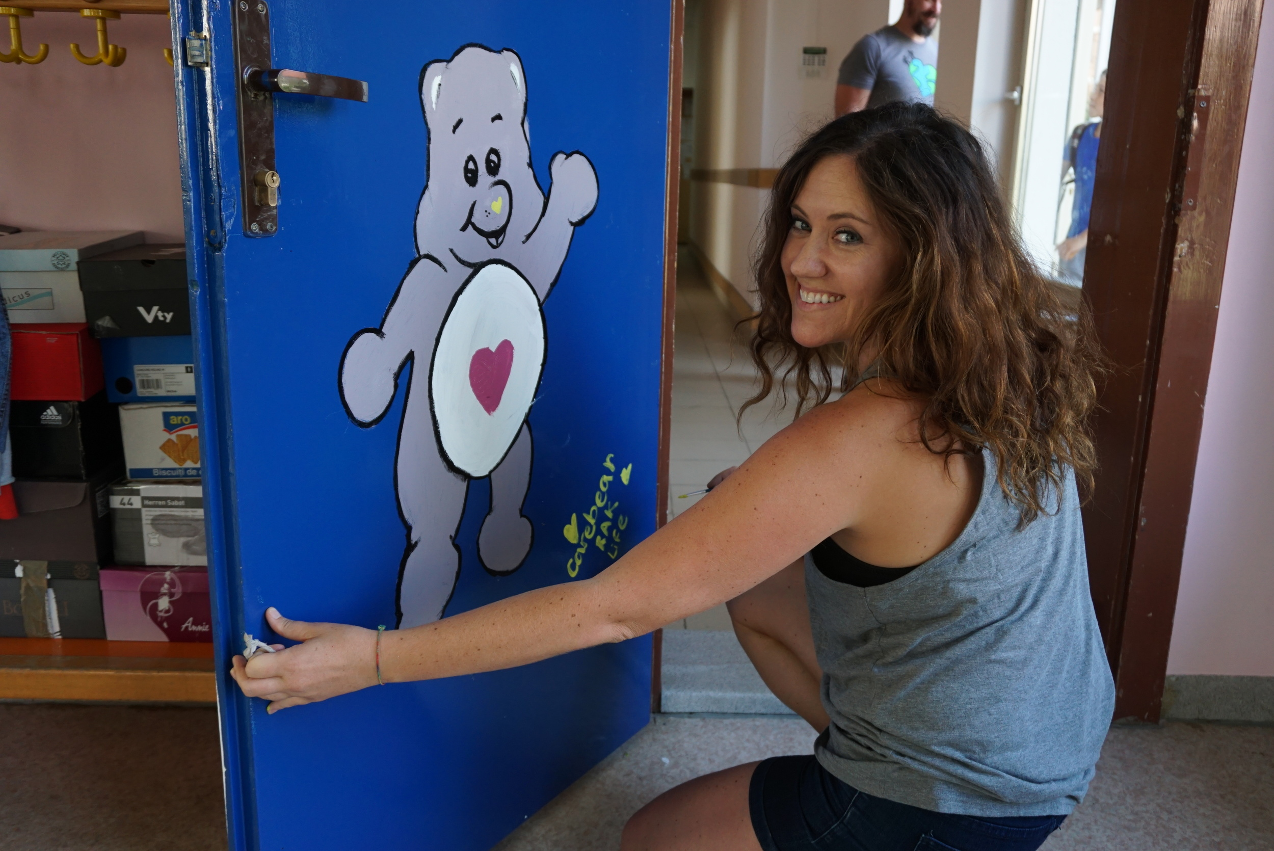 Carey painting her Care Bear - started as an Ewok, but turned out great!