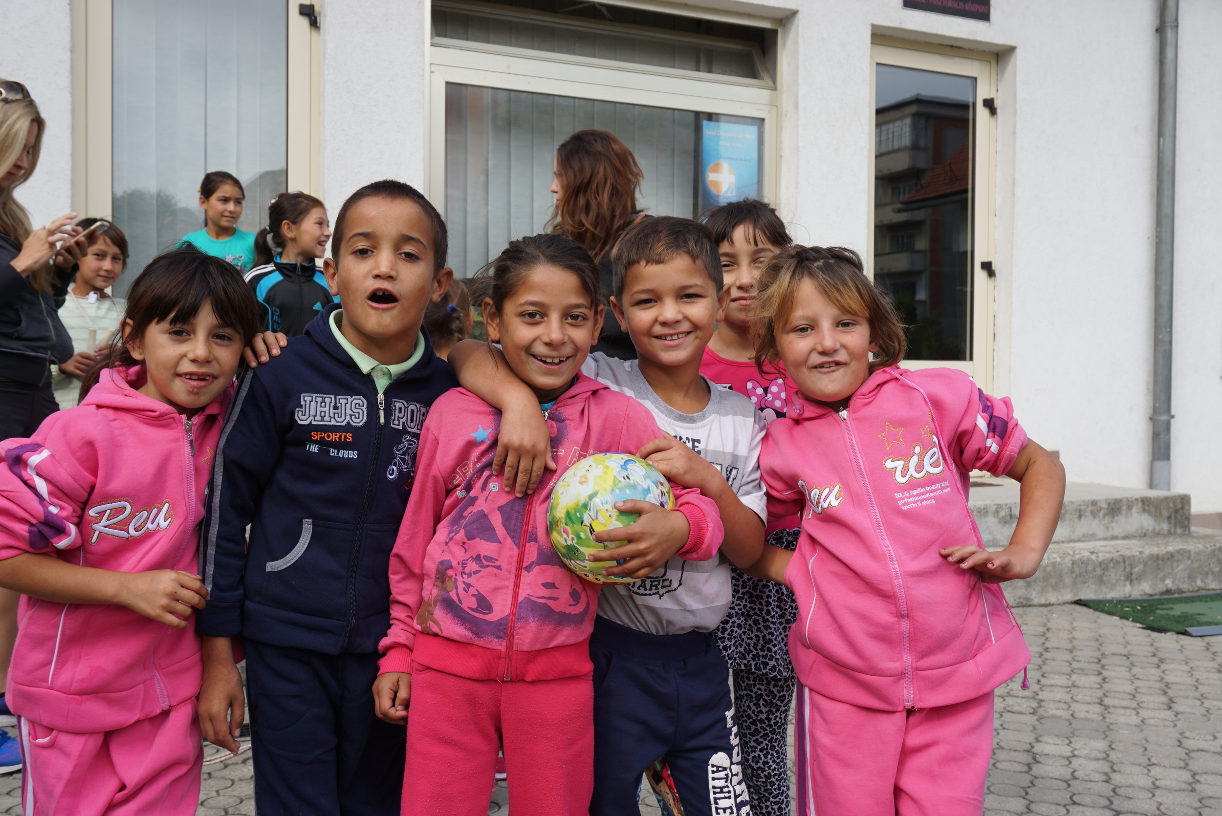 The Roma children during recess - they were all amazing to work with and help and simply couldn't stop smiling for the camera and hugging us!