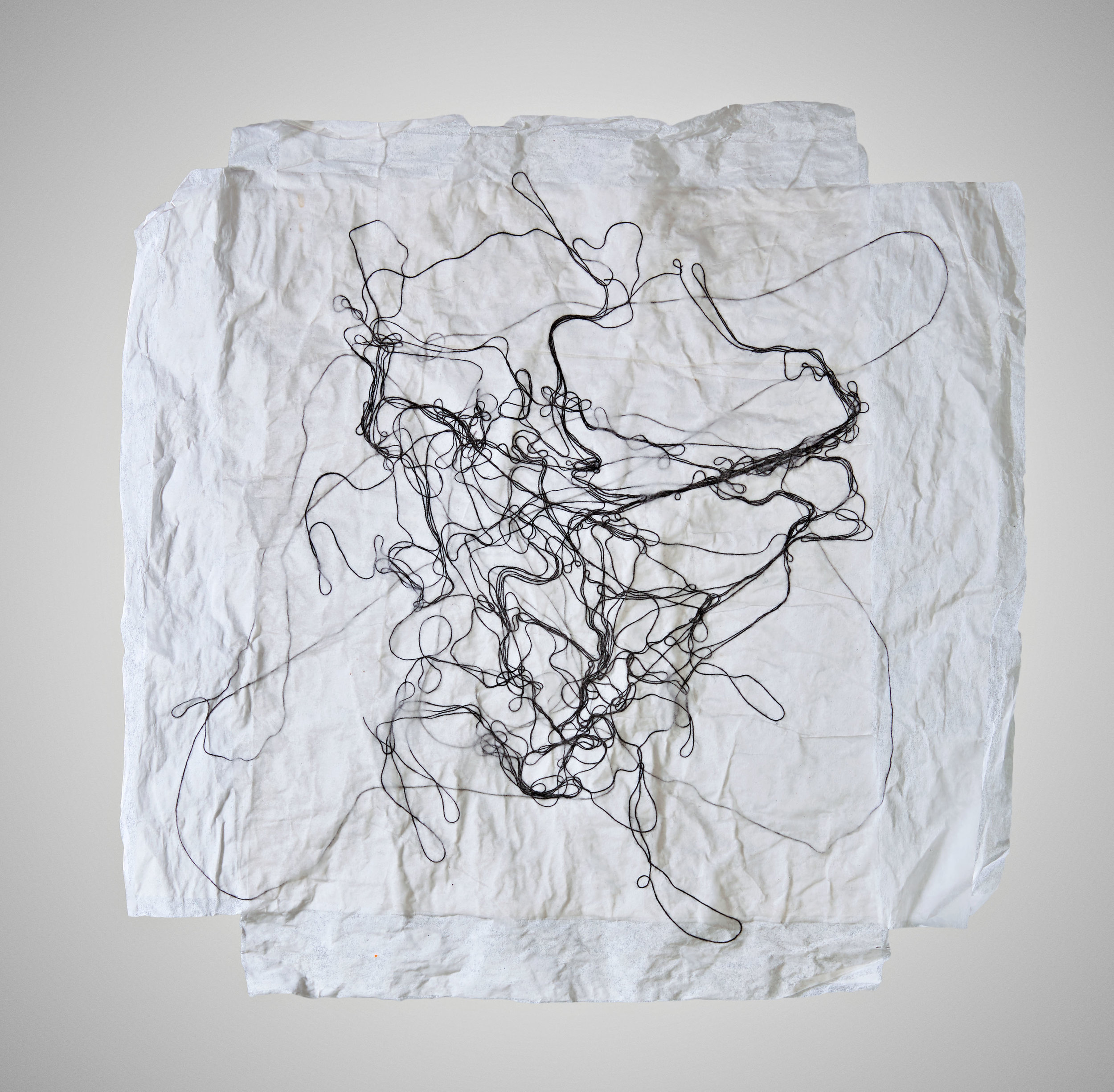 Line Drawing , 2017, thread and paper, 11 x 11 in.