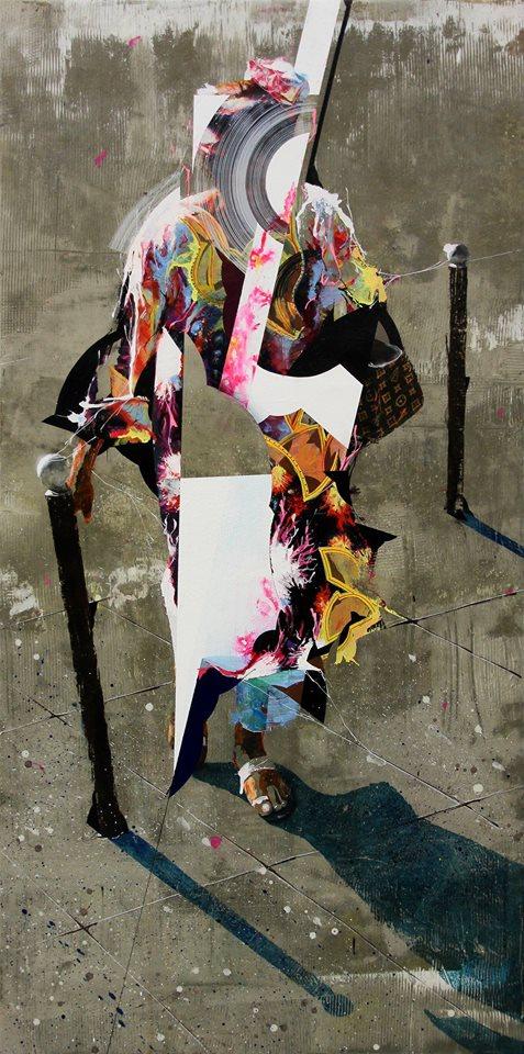 La dame de Lyon, acrylique, résine et ciment sur toile, 120*60 cm