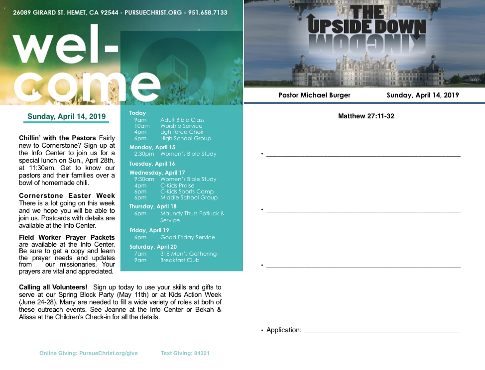 Bulletin and Sermon Notes April 14, 2019