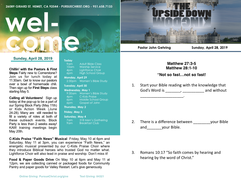 Bulletin and Sermon Notes April 28, 2019