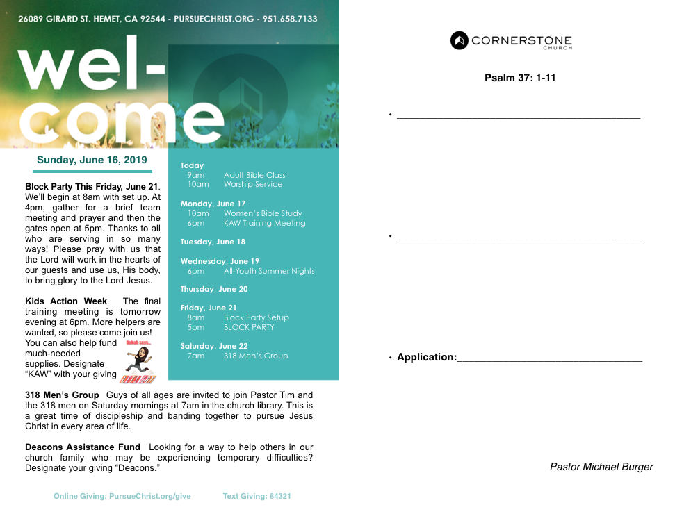 Bulletin — Cornerstone Church