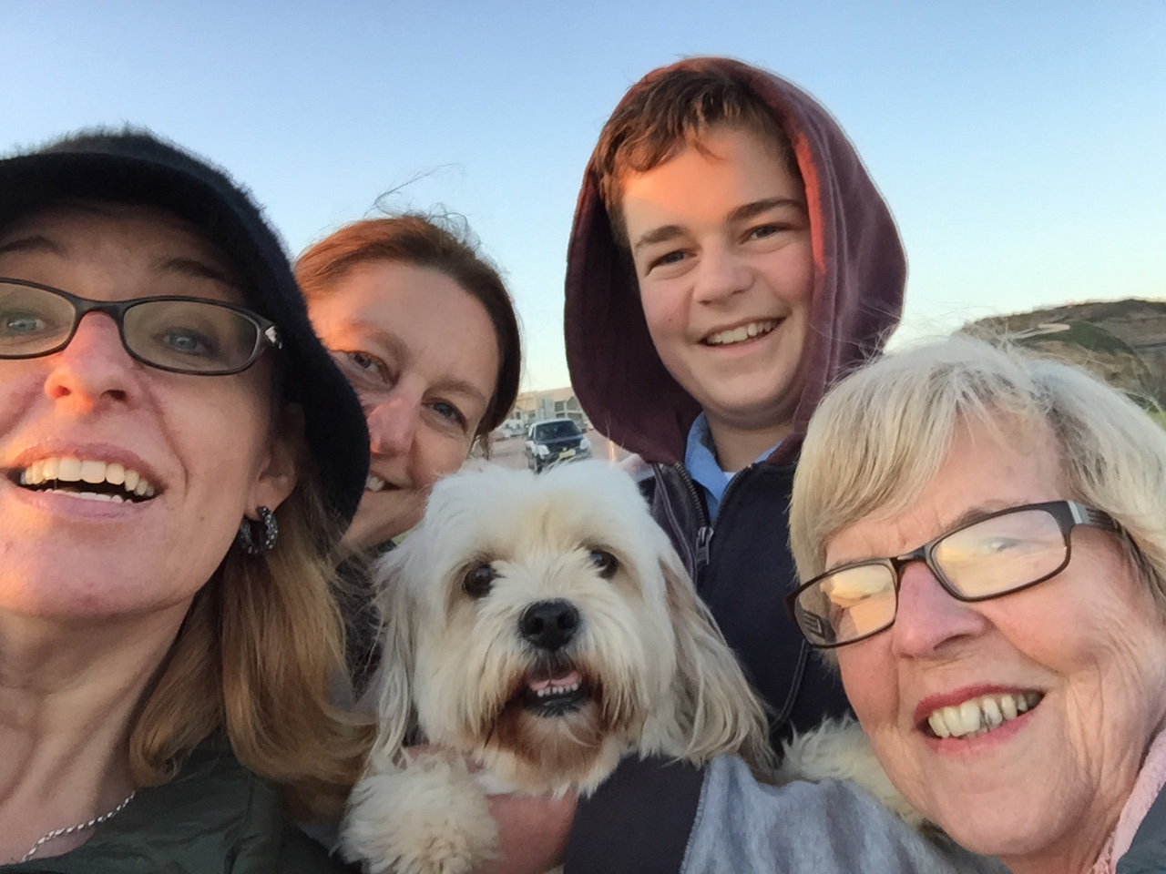 Back in Newcastle on the Anzac Bridge with Aunty Jacq, Callan and Charlie the grinning mutt.