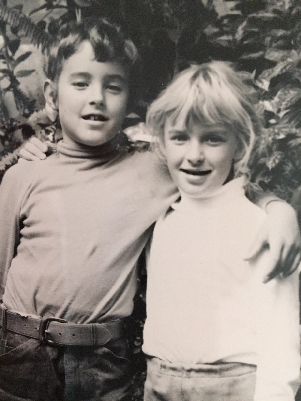 Yes, that's me on the right, my brother on the left. Not only were we energetic and creative children, we were total fashion icons. Long live the tucked-in skivvy!  The elasticised waist band, by the way, was stylish while proving quite flexible for tree climbing and parachuting.